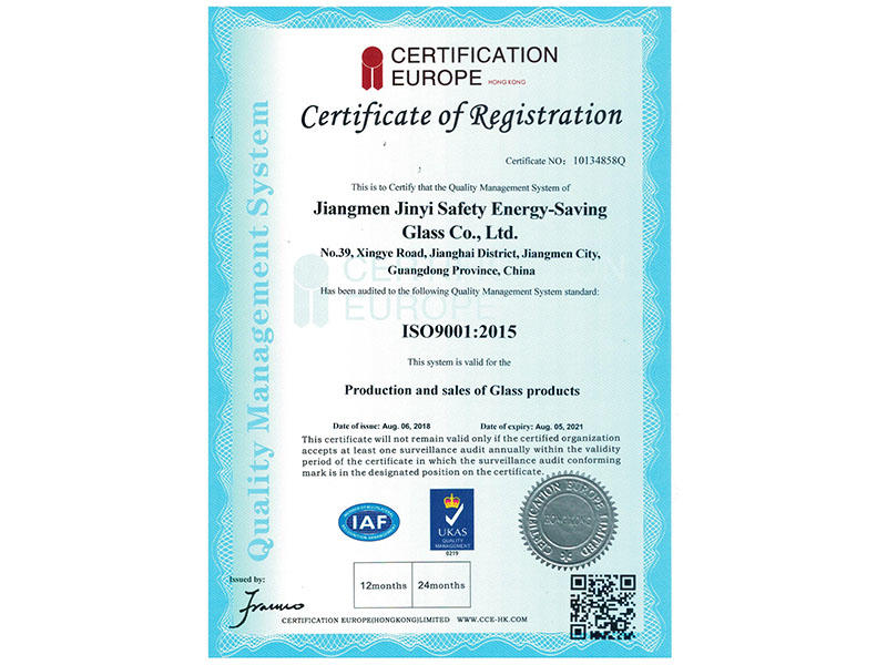 Iso2009 2015 Quality Management System Certificate