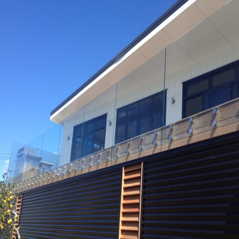 Frameless tempered laminated glass outdoor railing balustrade glass fencing