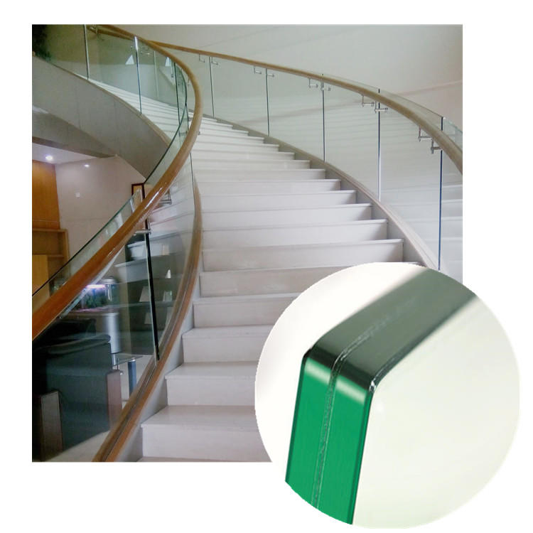 Anti slip glass floor glass spiral stair for glass walk floors