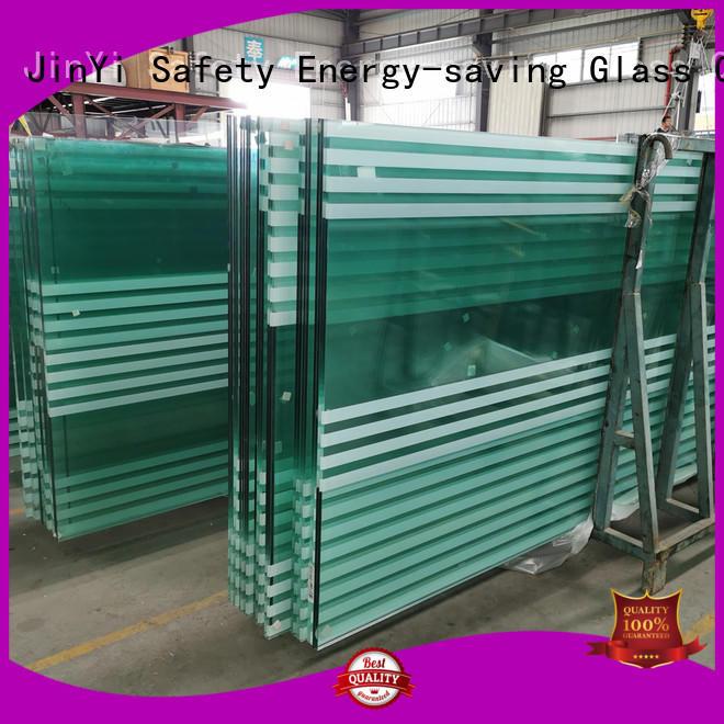 JinYi frameless white laminated glass factory outdoor